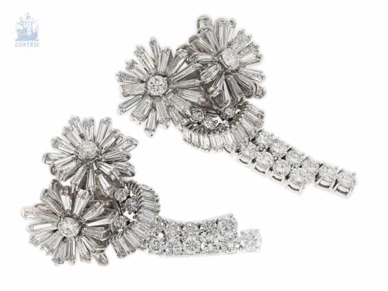 "Earrings: exclusive and extremely high-quality vintage goldsmith work in the ""Diamond Flowers"" style of the 60s, handmade, approx. 9ct finest diamonds - photo 2"