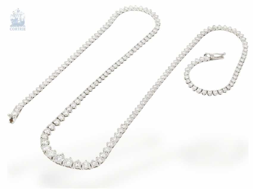 Necklace/Collier: fine, very high quality and elegant Rieviere-brilliant diamonds, approx. 8,25 ct brilliant top class, formerly very expensive crafted from 18K white gold - photo 3