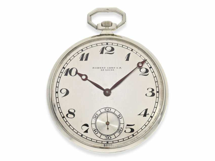 "Pocket watch: exquisite, super-flat Art Deco Frackuhr with a platinum case, ""Breguet-type"", Robert Cart of Le Locle No. 12122, CA. 1920 - photo 1"