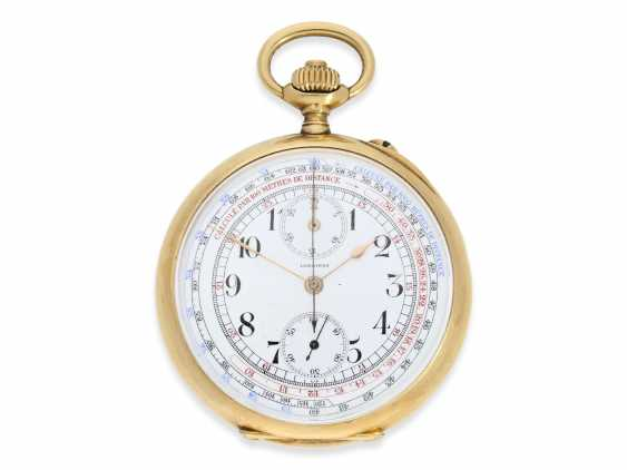 """Pocket watch: Longines Anchor chronometer with Chronograph and counter of the """"Chronographe, anti-magnetique"""", 18K Gold, approx 1915 - photo 1"""
