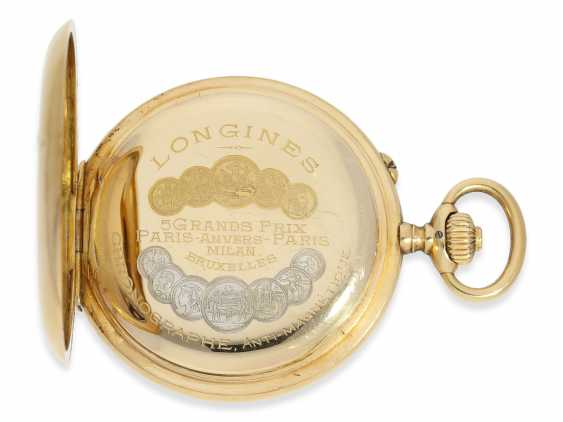"""Pocket watch: Longines Anchor chronometer with Chronograph and counter of the """"Chronographe, anti-magnetique"""", 18K Gold, approx 1915 - photo 2"""