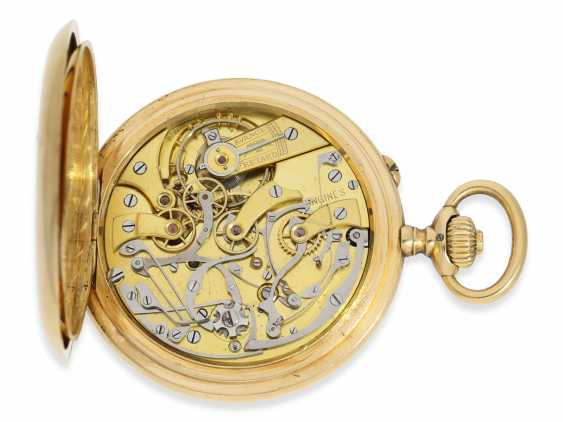 """Pocket watch: Longines Anchor chronometer with Chronograph and counter of the """"Chronographe, anti-magnetique"""", 18K Gold, approx 1915 - photo 3"""