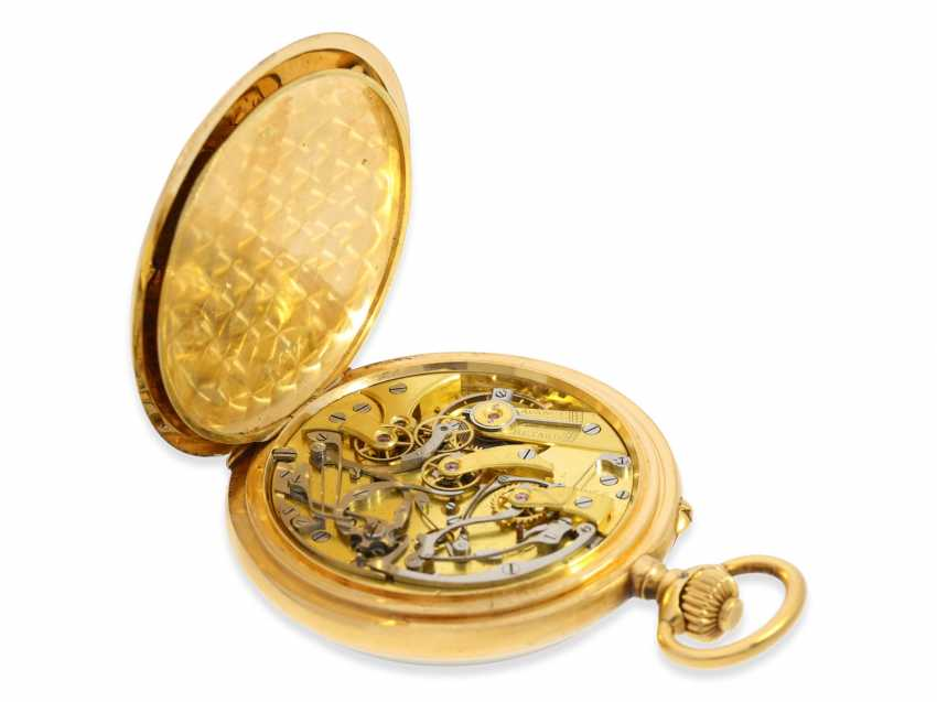"""Pocket watch: Longines Anchor chronometer with Chronograph and counter of the """"Chronographe, anti-magnetique"""", 18K Gold, approx 1915 - photo 4"""