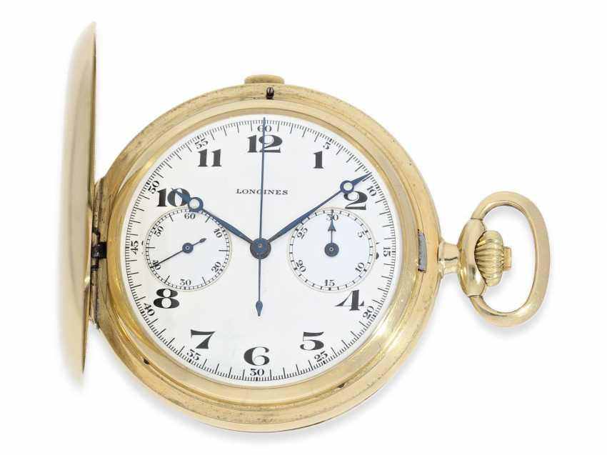 """Taschenuhr: hochwertiger Longines Chronograph """"Compteur"""" im Savonnettegehäuse, ca.1932 - Foto 1"""