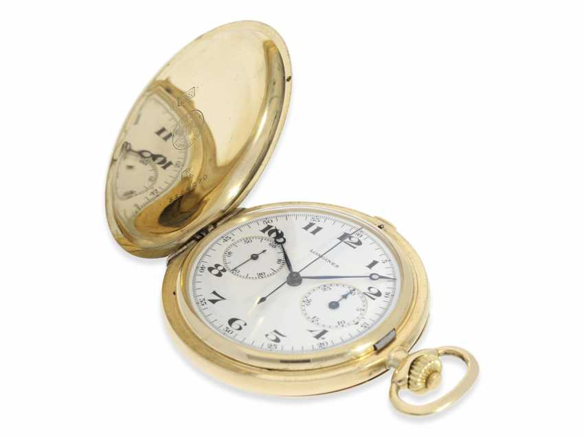 """Pocket watch: high grade, Longines Chronograph """"Compteur"""" in the savonnette case, CA. 1932 - photo 4"""