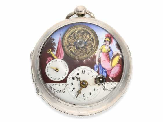 Pocket watch: large attractive Spindeluhr with enamel-painting, the date and visible balance wheel, a revolution motif, France, around 1790 - photo 1