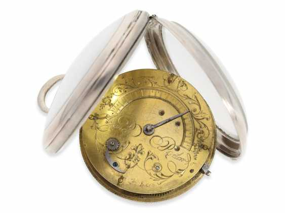 Pocket watch: large attractive Spindeluhr with enamel-painting, the date and visible balance wheel, a revolution motif, France, around 1790 - photo 3