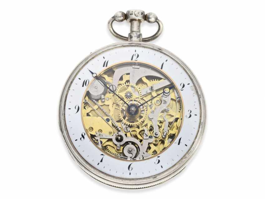 Pocket watch: large skeletonized hammer mechanism pocket watch, No. 9779, probably Switzerland, CA. 1820 - photo 1