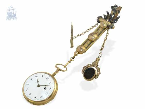 Pocket watch: big 18K Spindeluhr with Repetition on bell and decorative Chatelaine, France around 1800 - photo 5
