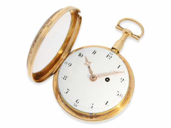 Pocket watch: a magnificent 3-colors-gold watch with strike on bell, excellent original condition, probably Geneva to 1800 - photo 5