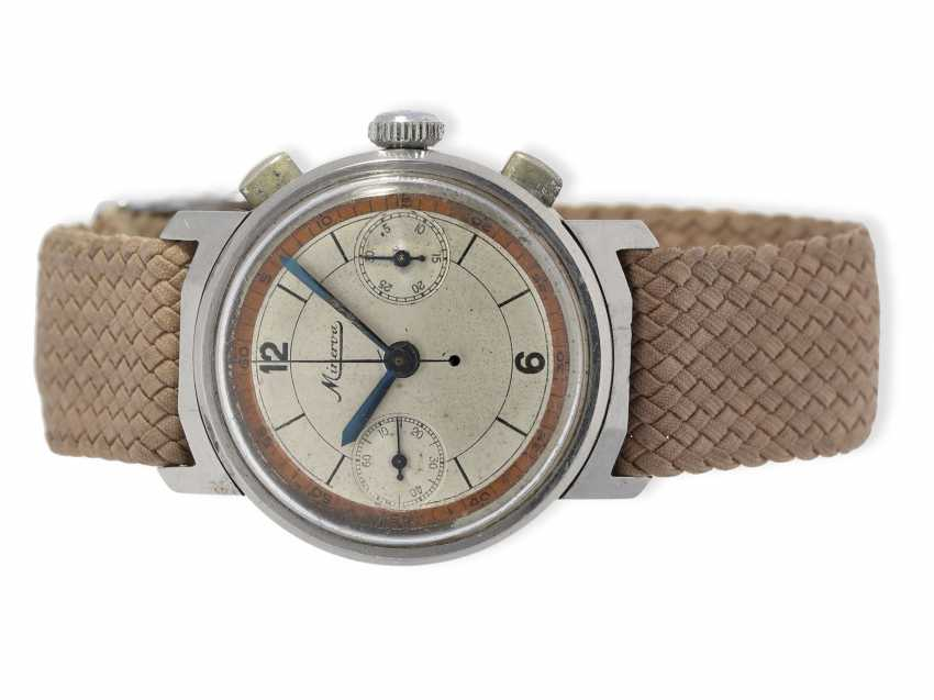 Wrist watch: small, very early and rare Minerva Chronograph watch with oval chronograph pushers, 40s - photo 1