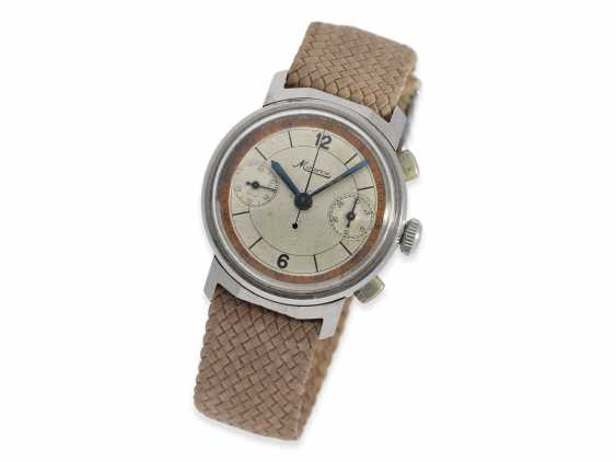 Wrist watch: small, very early and rare Minerva Chronograph watch with oval chronograph pushers, 40s - photo 2