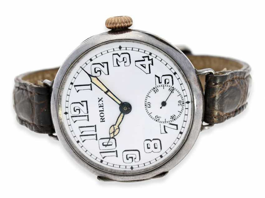 Watch: very early Rolex gents watch from the time around 1915, enamel dial and silver case - photo 1