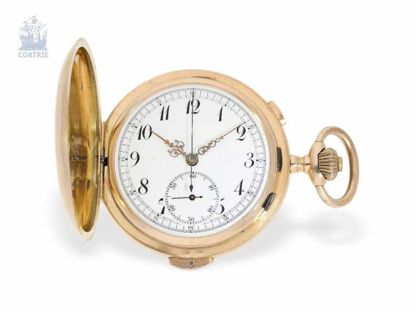 Pocket watch: large red gold Savonnette with Repetition and Chronograph, Audemars Freres No. 151573, supplier to the Russian tsarist house, CA. 1900 - photo 1