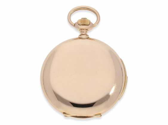 Pocket watch: heavy, very fine red-gold Savonnette with Repetition, excellent quality, Maurice Ditisheim, La Chaux-de-Fonds, No. 13385, delivered to Carl Lehar, a watchmaker in Vienna, about 1900 - photo 2