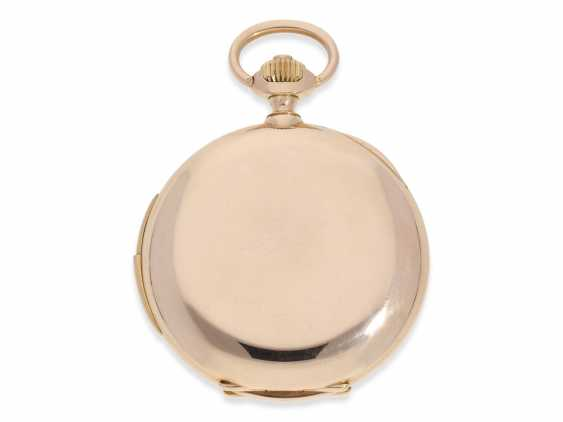 Pocket watch: heavy, very fine red-gold Savonnette with Repetition, excellent quality, Maurice Ditisheim, La Chaux-de-Fonds, No. 13385, delivered to Carl Lehar, a watchmaker in Vienna, about 1900 - photo 3