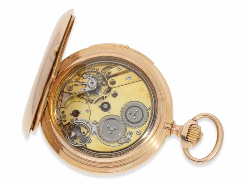 Pocket watch: heavy, very fine red-gold Savonnette with Repetition, excellent quality, Maurice Ditisheim, La Chaux-de-Fonds, No. 13385, delivered to Carl Lehar, a watchmaker in Vienna, about 1900 - photo 4