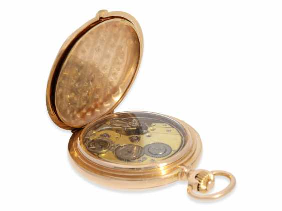 Pocket watch: heavy, very fine red-gold Savonnette with Repetition, excellent quality, Maurice Ditisheim, La Chaux-de-Fonds, No. 13385, delivered to Carl Lehar, a watchmaker in Vienna, about 1900 - photo 5