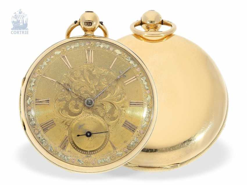 Pocket watch: early, heavy English watch with Multicolour base-Goldblatt, stop seconds and Massey escapement, Robert Roskell Liverpool in 1842 - photo 1