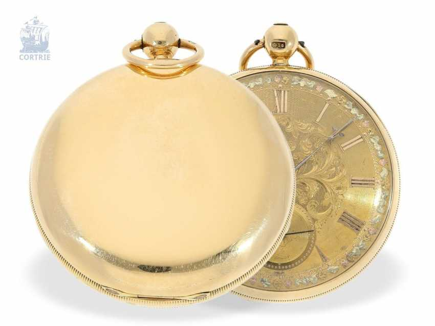 Pocket watch: early, heavy English watch with Multicolour base-Goldblatt, stop seconds and Massey escapement, Robert Roskell Liverpool in 1842 - photo 3