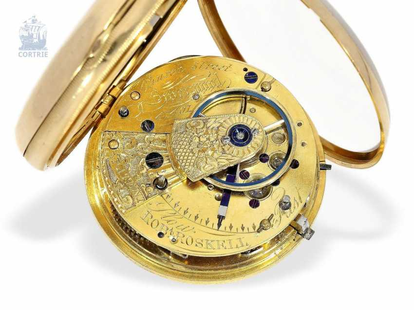 Pocket watch: early, heavy English watch with Multicolour base-Goldblatt, stop seconds and Massey escapement, Robert Roskell Liverpool in 1842 - photo 4
