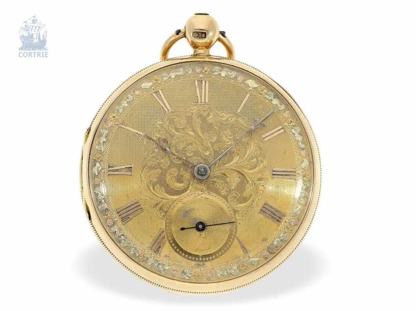 Pocket watch: early, heavy English watch with Multicolour base-Goldblatt, stop seconds and Massey escapement, Robert Roskell Liverpool in 1842 - photo 5