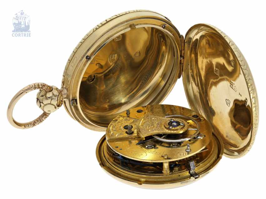 Pocket watch: particularly heavy English gold savonnette with computing anchor escapement, and the rare 15-second ad, Morris Tobias & Co, London No. 882, Hallmarks 1806 - photo 6