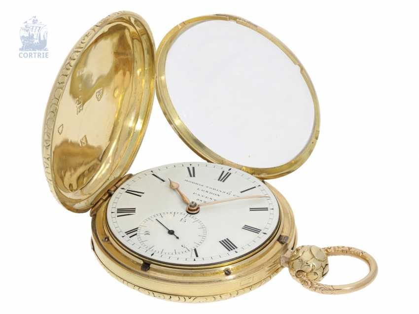 Pocket watch: particularly heavy English gold savonnette with computing anchor escapement, and the rare 15-second ad, Morris Tobias & Co, London No. 882, Hallmarks 1806 - photo 8