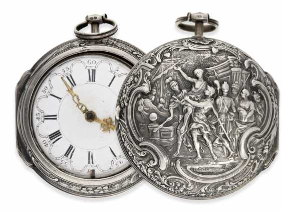 Pocket watch: an exceptionally large and magnificent repoussé technology-Spindeluhr, outstanding housing quality, signed Cochin-housing, Wilter London No. 3991, CA. 1760 - photo 1
