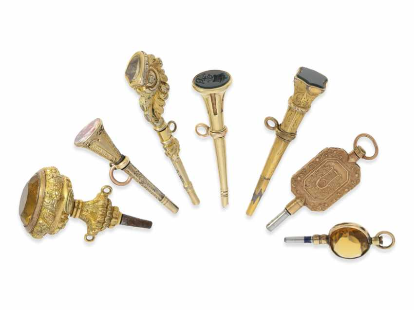 Spindle clock key: collection of very rare and unusual spindle watch key, around 1800 - photo 1