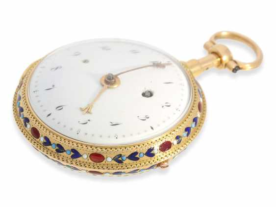 Pocket watch: very fine 20K Gold/enamel Spindeluhr with Repetition, Lamy a Paris, No. 673 - photo 4