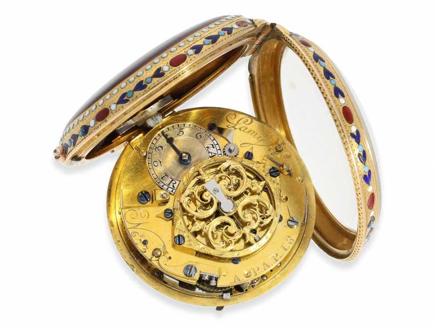 Pocket watch: very fine 20K Gold/enamel Spindeluhr with Repetition, Lamy a Paris, No. 673 - photo 5