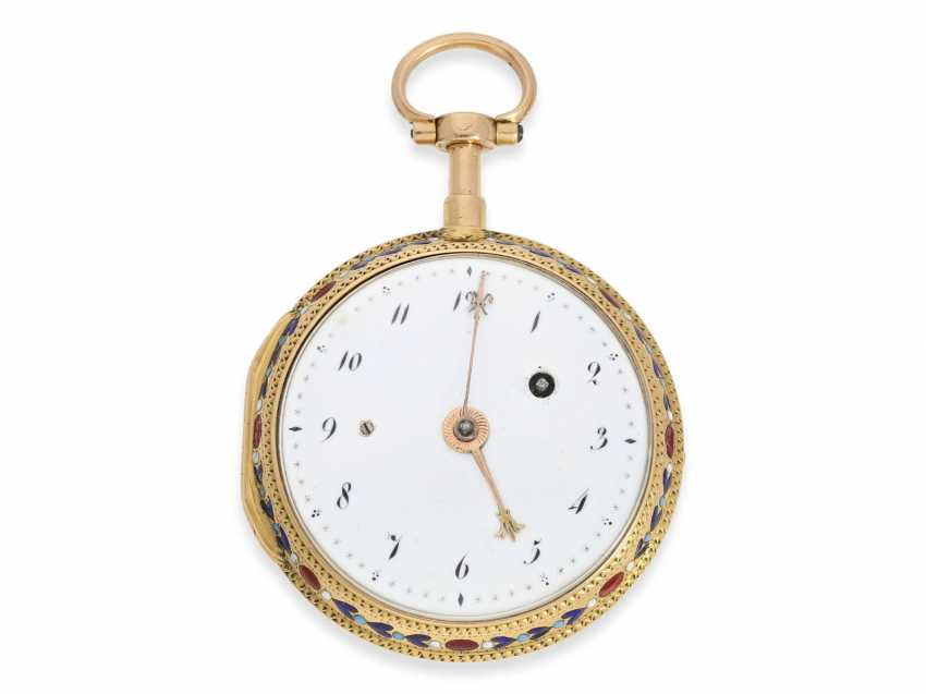 Pocket watch: very fine 20K Gold/enamel Spindeluhr with Repetition, Lamy a Paris, No. 673 - photo 6