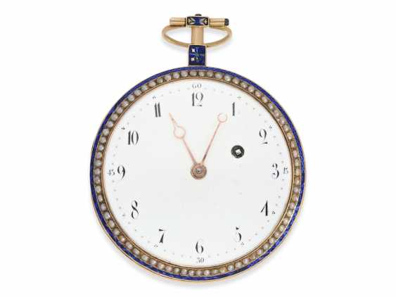 Pocket watch: very large Gold/enamel Spindeluhr with beaded trim and with the original Gold/enamel Chatelaine, probably Compagnie Duchene CA. 1790 - photo 6