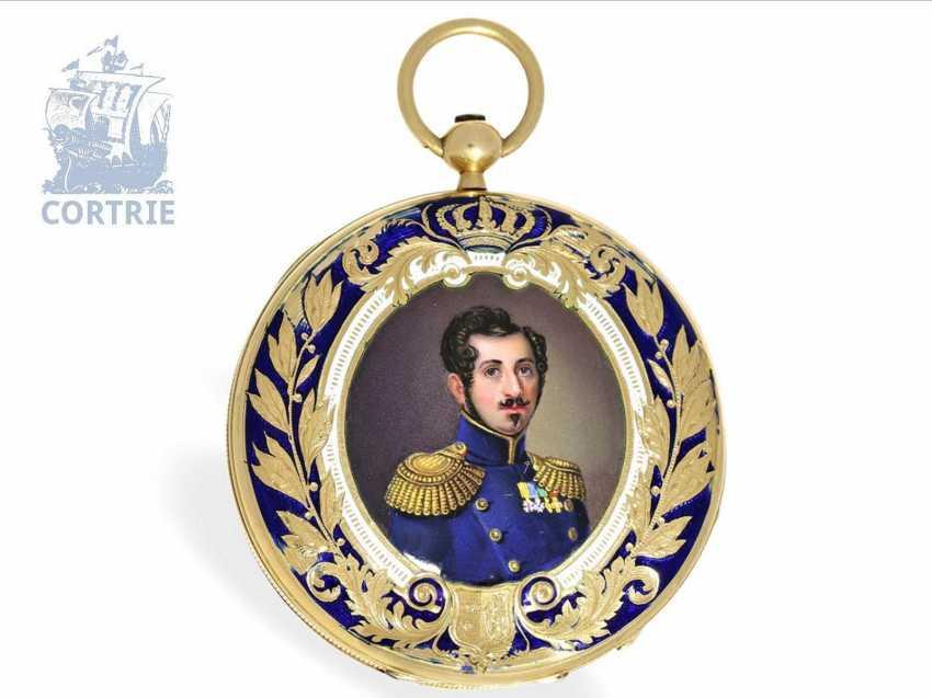 Pocket watch: very fine Gold/enamel pocket watch, probably made for Oskar I, king of Sweden, signed Robin Paris, CA. 1845 - photo 1