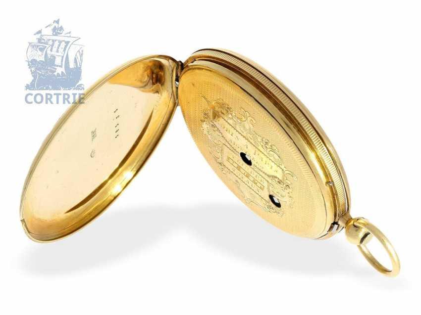 Pocket watch: very fine Gold/enamel pocket watch, probably made for Oskar I, king of Sweden, signed Robin Paris, CA. 1845 - photo 2