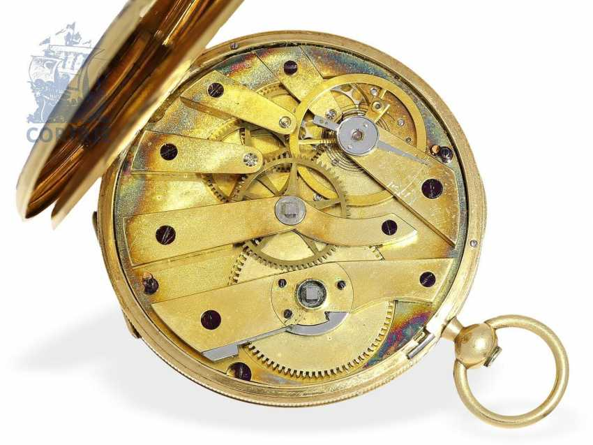 Pocket watch: very fine Gold/enamel pocket watch, probably made for Oskar I, king of Sweden, signed Robin Paris, CA. 1845 - photo 4