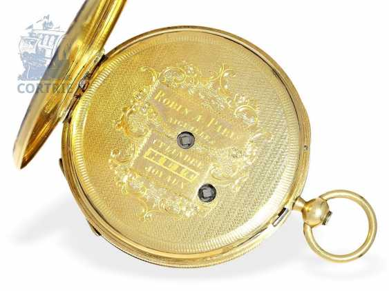 Pocket watch: very fine Gold/enamel pocket watch, probably made for Oskar I, king of Sweden, signed Robin Paris, CA. 1845 - photo 5