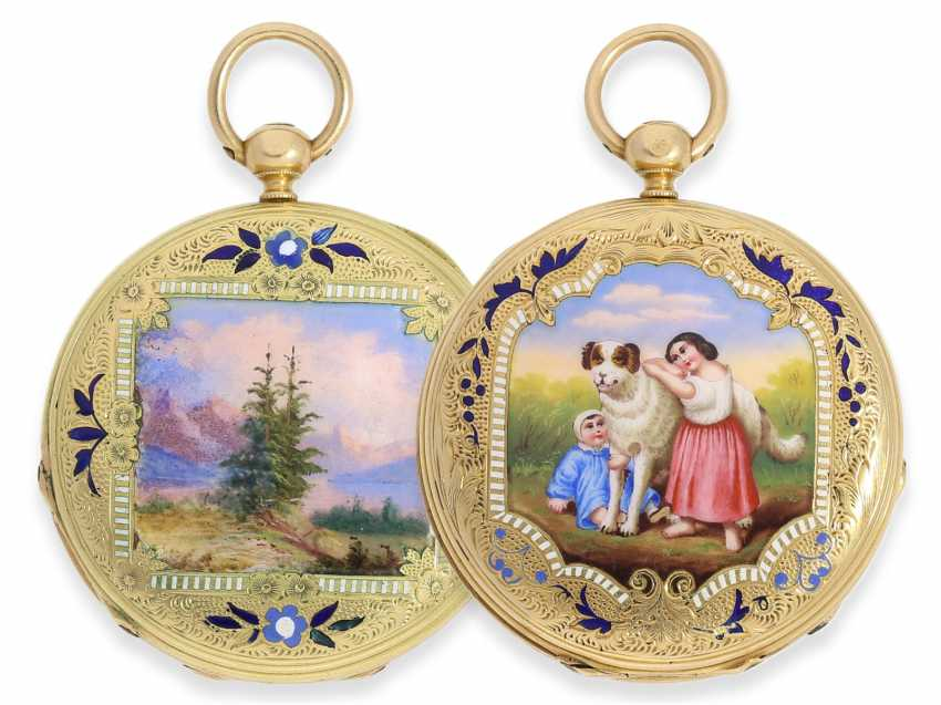 Pocket watch: early Patek Philippe/Gold / enamel-Savonnette with the finest motion painting No. 9996, CA. 1858 - photo 1
