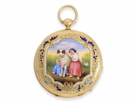 Pocket watch: early Patek Philippe/Gold / enamel-Savonnette with the finest motion painting No. 9996, CA. 1858 - photo 2