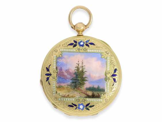 Pocket watch: early Patek Philippe/Gold / enamel-Savonnette with the finest motion painting No. 9996, CA. 1858 - photo 3