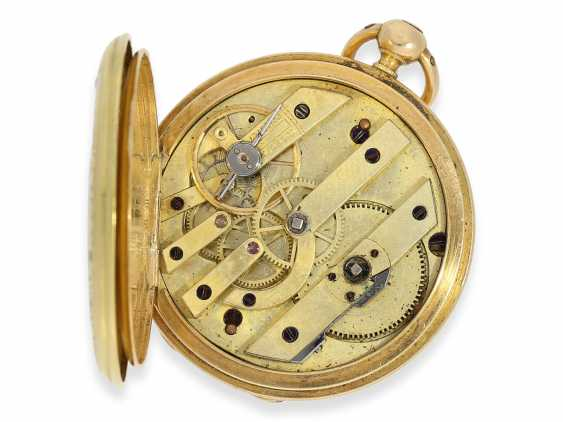 Pocket watch: early Patek Philippe/Gold / enamel-Savonnette with the finest motion painting No. 9996, CA. 1858 - photo 4