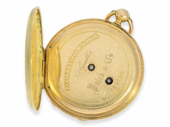Pocket watch: early Patek Philippe/Gold / enamel-Savonnette with the finest motion painting No. 9996, CA. 1858 - photo 5