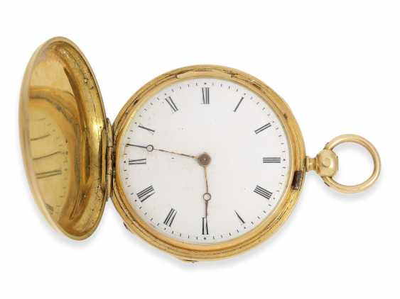 Pocket watch: early Patek Philippe/Gold / enamel-Savonnette with the finest motion painting No. 9996, CA. 1858 - photo 6