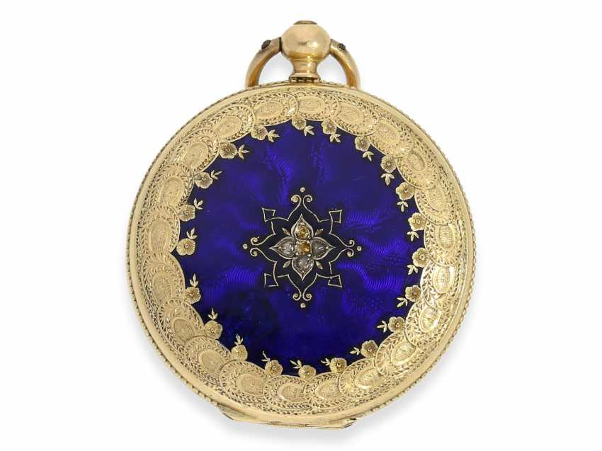 Pocket watch/Anhängeuhr: Patek Philippe, rare, early, early, early Gold/enamel ladies watch with brooch, Patek Philippe No. 7831, for the Polish market, to 1856 - photo 3