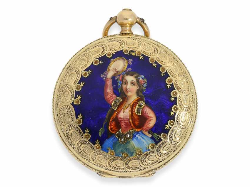 Pocket watch/Anhängeuhr: Patek Philippe, rare, early, early, early Gold/enamel ladies watch with brooch, Patek Philippe No. 7831, for the Polish market, to 1856 - photo 4
