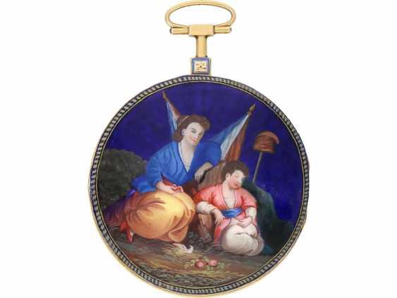 Pocket watch: large, fine Spindeluhr with enamel painting, rare revolution, motif, Chevalier Paris No. 634, CA. 1795 - photo 1