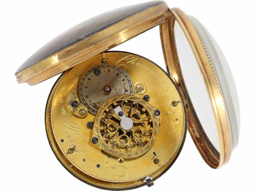 Pocket watch: large, fine Spindeluhr with enamel painting, rare revolution, motif, Chevalier Paris No. 634, CA. 1795 - photo 3