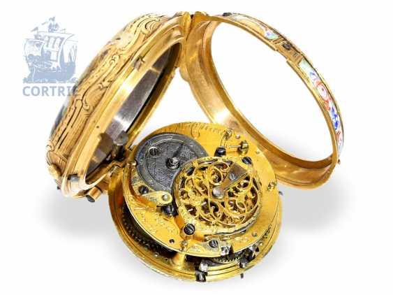 Taschenuhr: exquisite Rokoko Gold/Emaille-Spindeluhr mit Repetition a toc et a tact, Pierre Michaud a Paris, um 1760 - photo 3