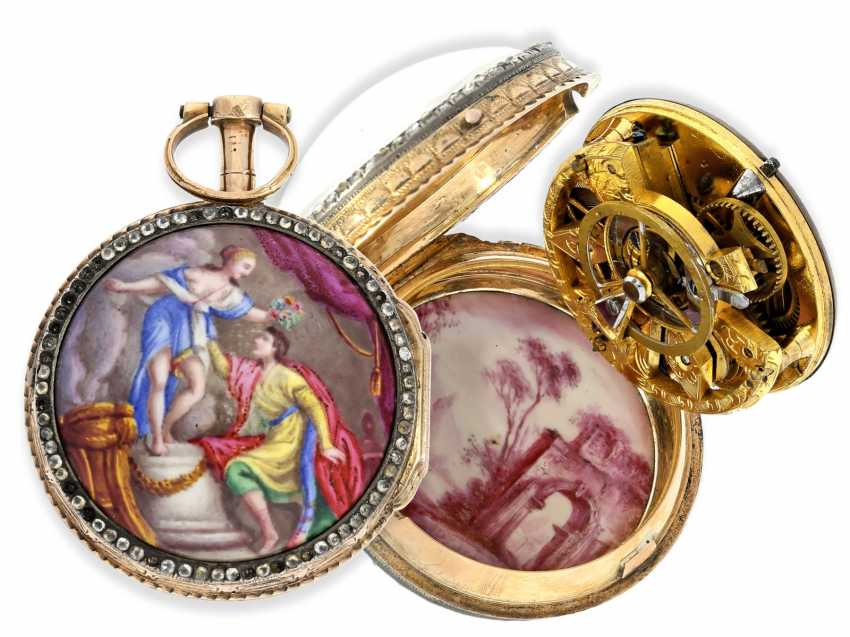 Pocket watch: very fine and very rare ladies Spindeluhr with skeletonised movement, 2 enamel paintings and stone trim, Royal watchmaker, L'Epine a Paris, CA. 1765 - photo 1
